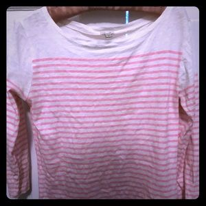 J.Crew Top XS pink White Stripe Boat Neck 3/4
